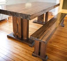 custom wooden butcher block table with bench seat for small dining