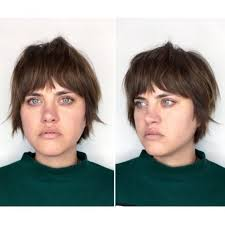 short hairstyles with fringe sideburns women s brunette textured pixie with fringe bangs and sideburns