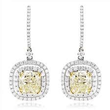 18k gold earrings dangling designer diamond drop earrings 6 5ct 18k gold yellow diamonds