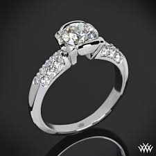 real diamond engagement rings symphony half bezel pave diamond engagement ring 483