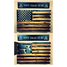 wooden american flag wall black and wood american flag home defense concealment wall