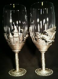 wedding goblets wedding toasting flutes pewter celtic chanpagne flute set