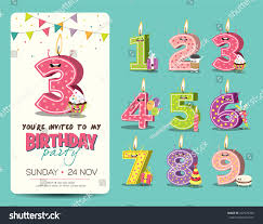 Party Invitation Cards Templates Birthday Anniversary Numbers Candle Funny Character Stock Vector