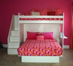 girls room that have a office up stairs fantasy twin over queen bunk bed bunk bed full bed and spiral