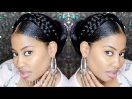images of black braided bunstyle with bangs in back hairstyle goddess halo milkmaid braids with bun updo youtube