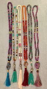 long crystal tassel necklace images Leather tassel necklace turquoise stone natural wood bead necklace jpg