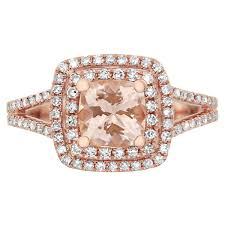 Halo Cushion Engagement Rings 6mm Cushion Morganite And 1 2cttw Diamond Double Halo Ring In 14kt