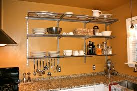glorious brown hardwood floating open shelving for kitchen storage