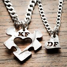 couples puzzle heart necklace images Heart puzzle piece with initials couples necklaces custom cut jpg
