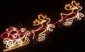 led waving santa and moving reindeer with sleigh christmas lights