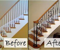 Railing Banister Stair Makeover Replacing Wood Balusters With Wrought Iron