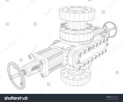 blowout preventer wire frame style vector stock vector 690890461
