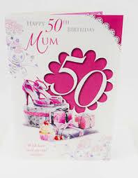 happy 50th birthday mum card pink elegant lovely verse quality 50