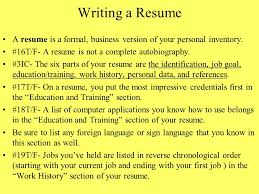 Resume Current Job Chapter 8 Interviewing For A Job And Writing A Resume Ppt Download