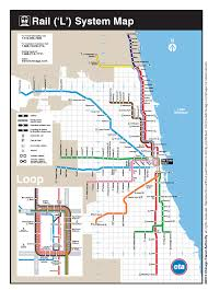 Chicago Printable Map by Blue Line Map Chicago Adriftskateshop