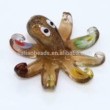 murano deco glass silver foil brown octopus ornament sea