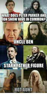 Peter Parker Memes - what does peter parker and jon snow have in common uncle ben