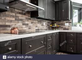 kitchen backsplash cabinets kitchen cabinets and backsplash stock photo alamy
