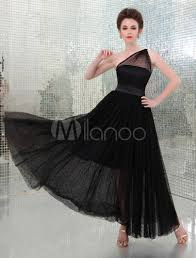 one shoulder black evening dress with sheer overlay milanoo com