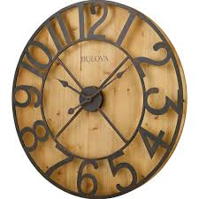 bulova 29 in h x 29 in w round gallery wall clock in knotty pine