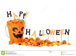 happy halloween sign with candy u0026 candy bucket stock image image
