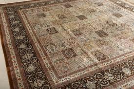 Neutral Persian Rug Square Garden Design Silk Qum Persian Rug 51084 By Nazmiyal