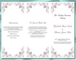 Tri Fold Wedding Program Trifold Program Etsy