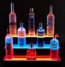 led lighted bar shelves amazon com 72 led lighted liquor shelves bottle display 3 tier