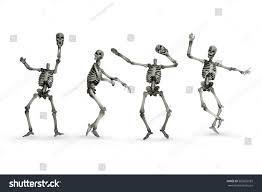dancing skeleton removing head skull halloween stock photo