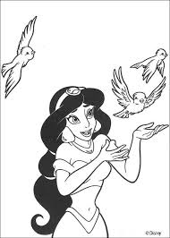 princess jasmine birds coloring pages hellokids