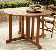 outdoor drop leaf table hstead teak round drop leaf dining table honey pottery barn