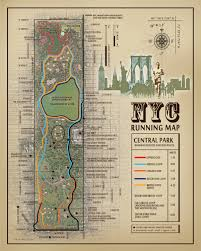 Map A Running Route by Nyc Central Park 11x14 Running Route Map Vintage