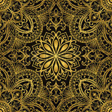 seamless vector colorful pattern east ornament with gold contour
