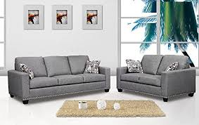 Gray Nailhead Sofa 2 Piece Sofa Set Sofa U0026 Loveseat Dark Grey Color Fabric Nailheads