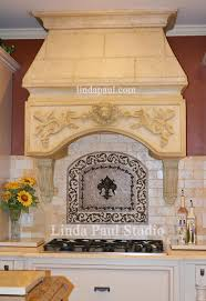 kitchen backsplash ideas gallery of tile backsplash pictures stunning kitchen backsplash idea with medallion and faux stone hood