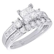 white gold wedding ring sets 10k white gold diamond bridal princess baguette