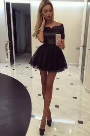 klshort black dresses sleeves the shoulder black homecoming dress