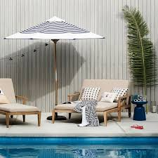 Blue And White Striped Patio Umbrella Wooden Umbrella Navy Stripe West Elm