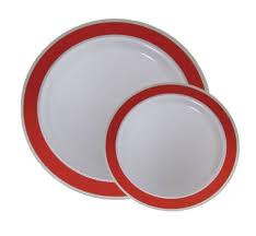 disposable plastic dinner dessert plates with silver trim