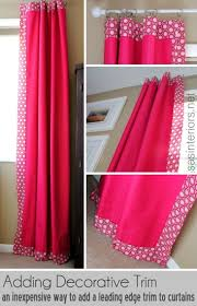 White Curtains With Blue Trim Decorating How To Add Decorative Trim To Curtains For Cheap Burger