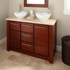 Modern Bathroom Sink And Vanity by Bahtroom Dark Rattan Holder Under White Window Beside Simple