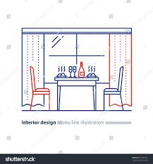 restaurant dining room interior design window stock vector