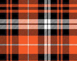 orange plaid fabric etsy