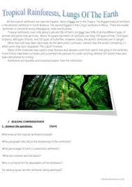 10 free esl rainforest worksheets