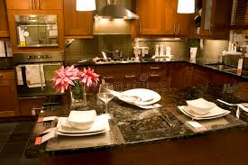 kitchen and home interiors kitchen counter setting home interiors stock image image of design