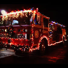 lights firetruck the town decorated the truck