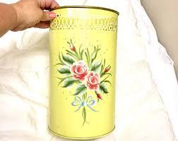 Yellow Wastebasket Flower Trash Can Etsy