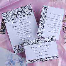 cheap classic black and white damask wedding invitations ewi157 as