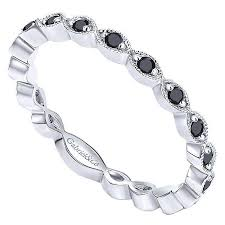 stackable diamond rings 14k white gold black diamond stackable ring mullen jewelers