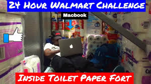 24 hour overnight challenge in walmart toilet paper fort